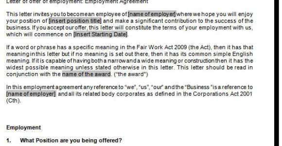 Fair Work Employment Contract Template Full Time Employment Contract Template Fair Work