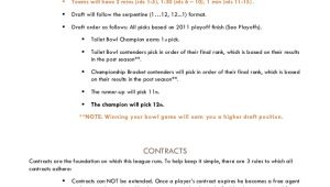Fantasy Football Contract Template 2012 Azusa Constitution