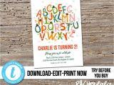 Farewell Party Invitation Card Template Editable Alphabet Birthday Party Invitation Printable