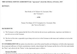 Fee for Service Contract Template Free Service Agreement Create Download and Print