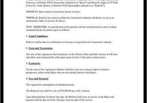 Fee for Service Contract Template Referral Fee Agreement Template form with Sample