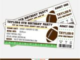Field Ticket Template Football Party Invitation Football Birthday Invitation