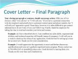 Final Paragraph Of A Cover Letter Cover Letter Conclusion Examples