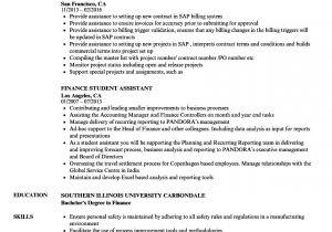 Finance Student Resume for Internship Finance Student Resume Samples Velvet Jobs
