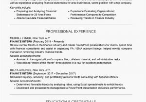 Finance Student Resume for Internship What Should A Sample Finance Intern Resume Look Like