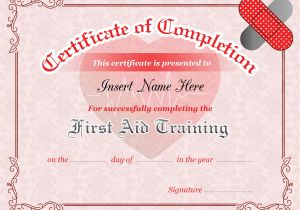 First Aid Certificate Template Free First Aid Training Completion Certificate Template