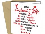 First Anniversary Card for Husband 720 1st Wedding Anniversary Gift Him Her Quality Greeting