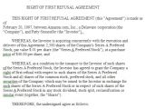 First Right Of Refusal Contract Template Right Of First Refusal Agreement Sample Right Of First
