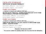 First Speaker Debate Template Debate Notes and format W Rubric