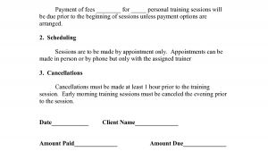 Fitness Instructor Contract Template Personal Training Contract Templates Five 1 Fitness