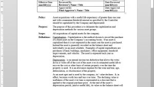Fixed asset Policy Template Fixed asset Capitalization Depreciation Procedure
