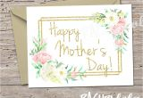 Flower Card for Mom or Grandma Gold Floral Printable Mothers Day Note Card Template Blank