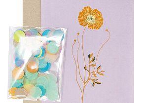 Flower Card for New Baby Paper Poetry Grua Kartenset Goldmohn Flieder