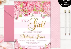 Flower Card for New Baby Spring Flowers Baby Shower Invitation Template Gold and