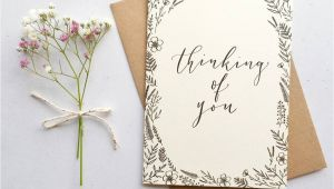Flower Card Thinking Of You Thinking Of You Modern Calligraphy Card In 2020