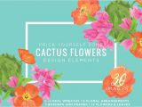 Flower Decoration Visiting Card Design Cactus Flowers Graphic Kit by Relish Designs On