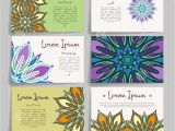 Flower Decoration Visiting Card Design Set Of Vector Design Templates Business Card with Floral