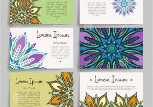 Flower Decoration Visiting Card Design Set Of Vector Design Templates Business Card with Floral