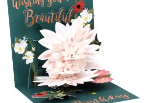 Flower Decoration Visiting Card Design Up with Paper Everyday Pop Up Greeting Card 5 1 4 X 5 1 4 Beautiful Birthday Item 7224099