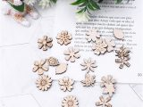 Flower Embellishments for Card Making 100 Pieces Flowers and Leaves Embellishment Wooden Shape Craft Wedding Decor