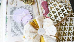 Flower Embellishments for Card Making Flower Brooch Scrapbooking Kit Diy Crafts Paper Ephemera