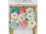 Flower Embellishments for Card Making Prima Marketing Misty Rose Mulberry Paper Flowers 14 Pkg