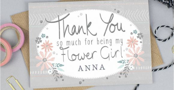 Flower Girl Thank You Card Thank You for Being My Flower Girl Card Personalised