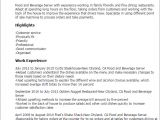 Food Basic Resume 1 Food and Beverage Server Resume Templates Try them now