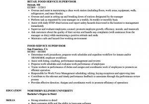 Food Basic Resume Food Service Supervisor Resume Samples Velvet Jobs