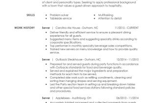 Food Basic Resume Unforgettable Restaurant Server Resume Examples to Stand