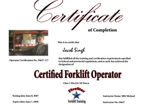 Forklift Operator Certificate Template forklift Training In Vancouver Surrey Burnaby Richmond Bc