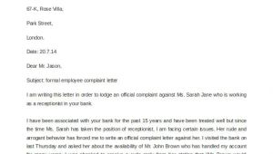 Formal Letter Of Complaint to Employer Template 29 Free Complaint Letter Templates Pdf Doc Free