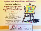 Free Art Class Flyer Template Gilroy Arts Alliance Center for the Arts Newsletter August