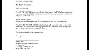 Free Breach Of Contract Letter Template Breach Of Contract Notice Letter Sample