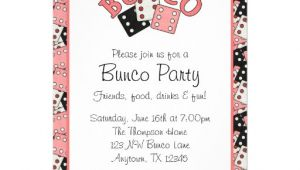 Free Bunco Flyer Template Pink and Black Bunco Party 5×7 Paper Invitation Card Zazzle