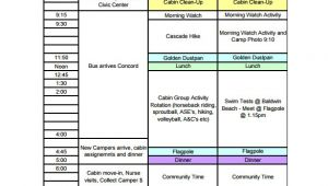 Free Business Plan Template for Summer Camp 13 Camp Schedule Templates Pdf Doc Xls Free