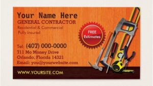 Free General Contractor Business Card Templates General Contractor Handyman Business Card Template