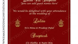 Free Indian Wedding Invitation Email Template Single Page Email Wedding Invitation Diy Template Indian