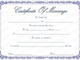 Free Marriage Certificate Template Free Marriage Certificate Template with Blue Borders