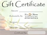Free Massage therapy Gift Certificate Template Lafusion Massage Spa Gift Certificate Tulsa Spa Gifts