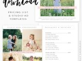 Free Photoshop Flyer Templates for Photographers Free Pricing List Studio Ad Templates Photography