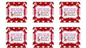 Free Printable Valentine Card for Husband Freebie Hugs and Kisses Valentine Free Printable Tag Card