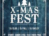 Free Winter Holiday Flyer Templates X Mas Christmas Blue Wood Tree Fest Winter Snow Flakes