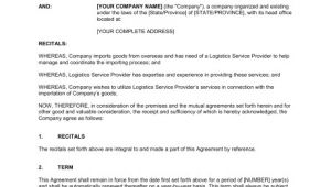 Freight forwarding Contract Template Contract for Logistics Services Template Sample form