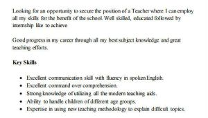 Fresher Primary Teacher Resume format 42 Teacher Resume formats