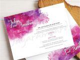 Friends Card for Wedding Invitation Beautiful Wedding Invitation Card with Purple and Pink Water