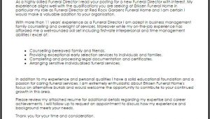 Funeral Director Cover Letter Funeral Director Cover Letter Sample Cover Letter