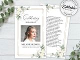 Funeral Flower Card Messages for Dad Examples Editable Funeral Prayer Card Template Printable Memorial