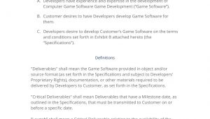 Game Development Contract Template Game software Development Contract 3 Easy Steps