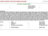 General Manager Contract Template Hotel General Manager Employment Contracts